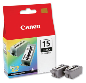 Canon BCI15BK Black Ink Tank (Pack of 2)