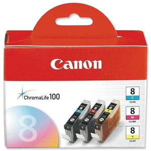 Canon 8 Value Pack[Contains three colours!]